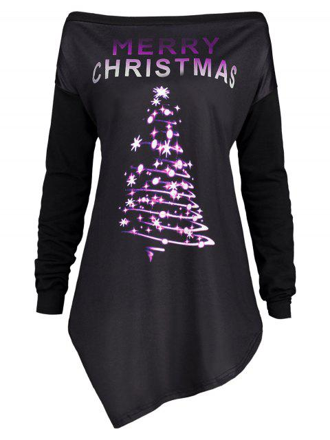 shops Merry Christmas Irregular Plus Size Tunic T-shirt - PURPLE 5XL Mobile