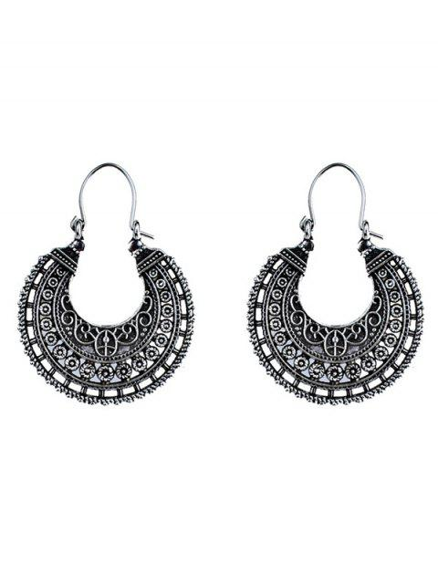 women U Shape Coin Decorated Ethnic Style Earrings - SILVER  Mobile