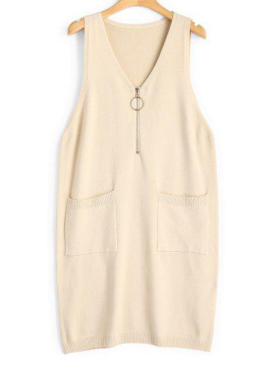 ba2de5de50550 Longline Half Zip Vest V Neck Sweater - Apricot