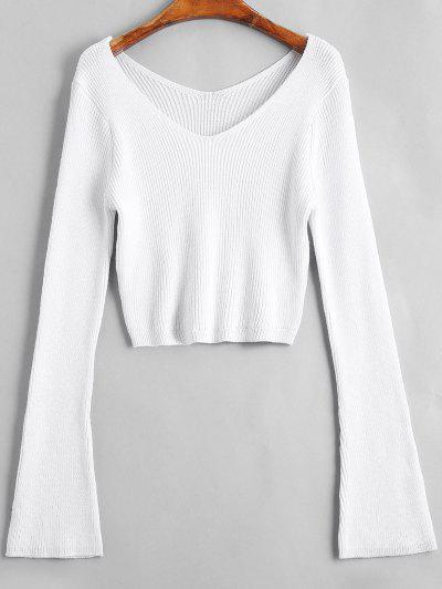 Flare Sleeve Cropped V Neck Sweater - White
