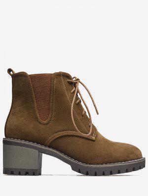 Chunky Heel Elastic Band Boots
