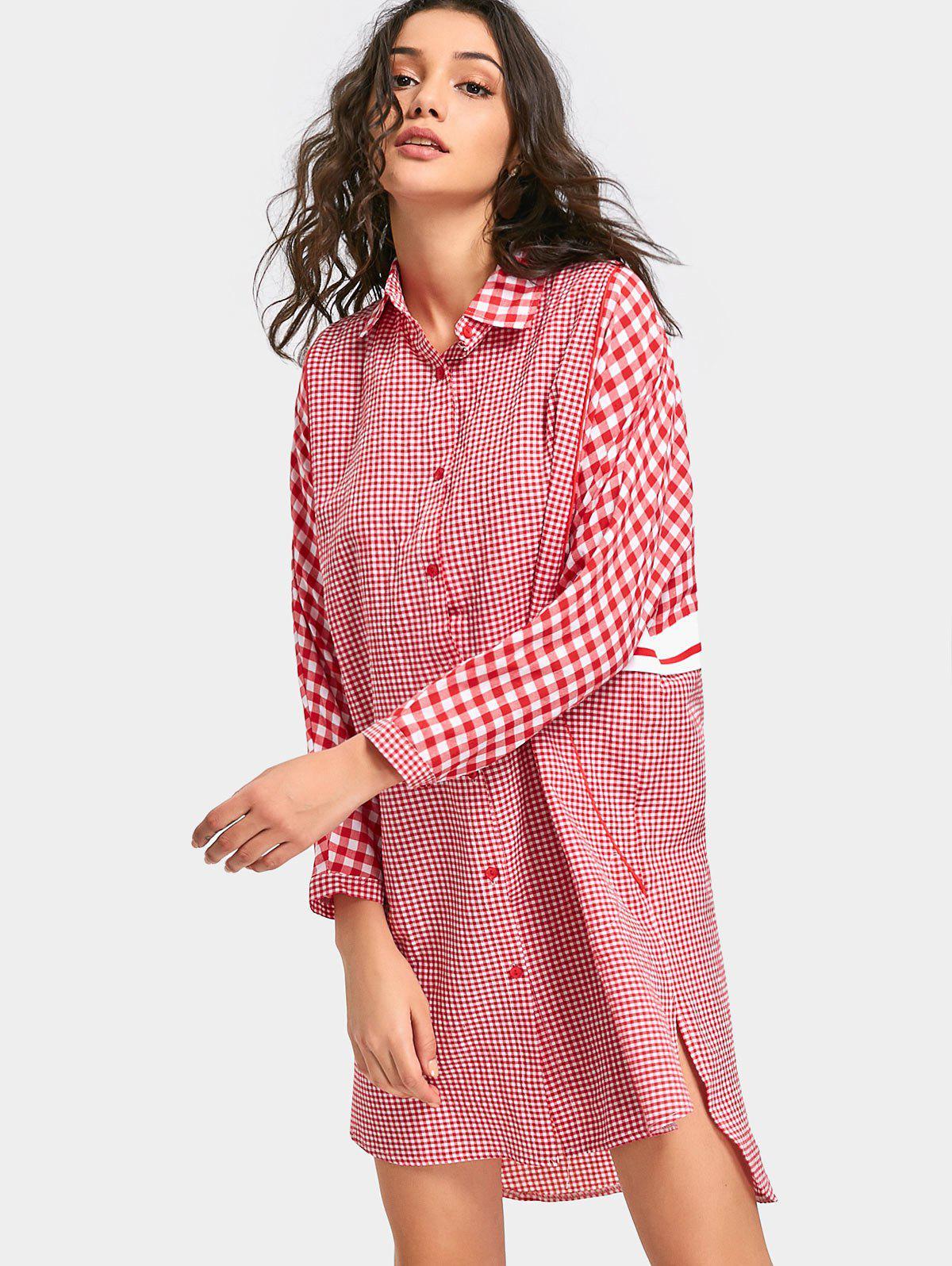 Image of Tartan Long Sleeve Shirt Dress