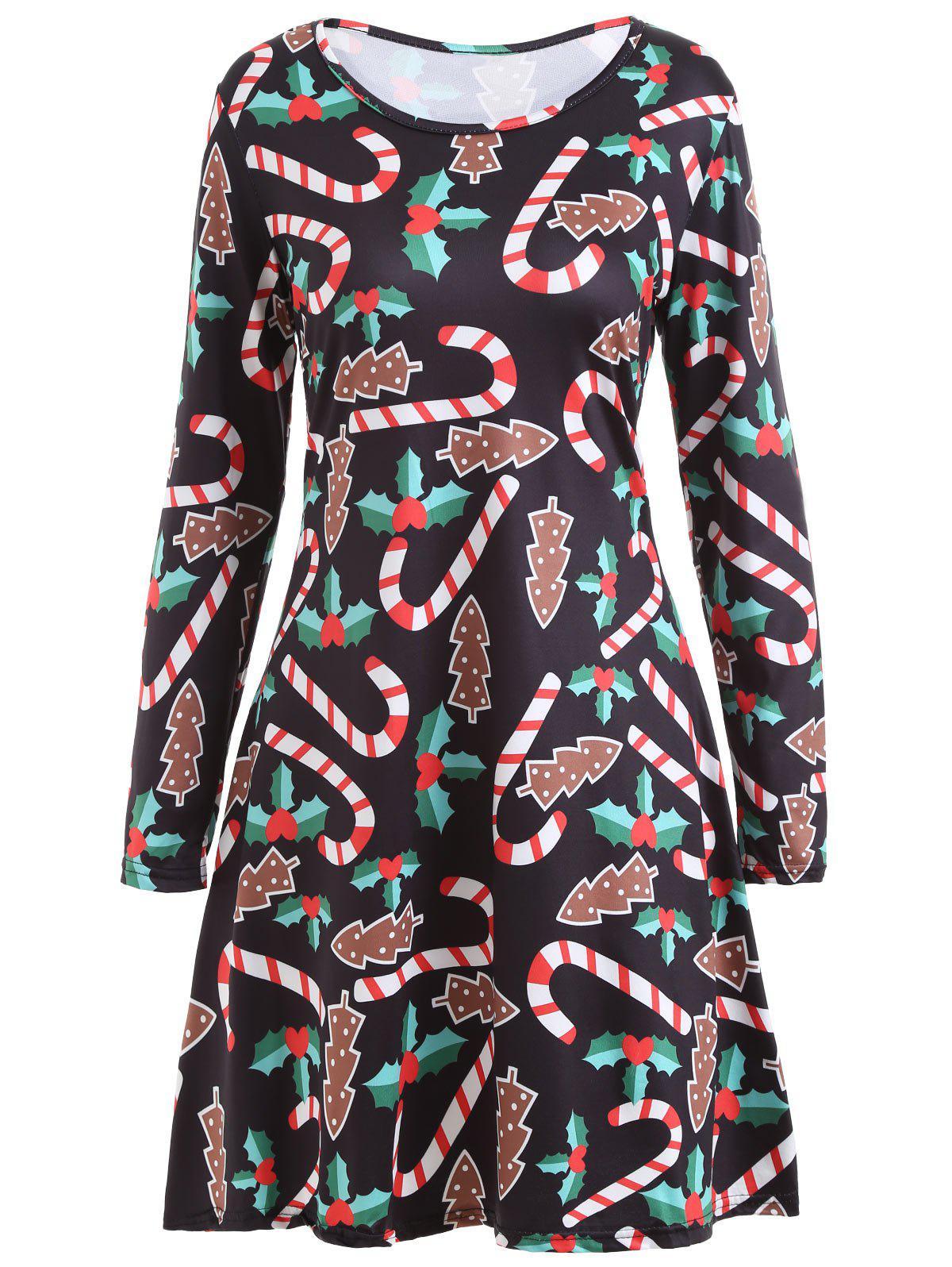 Christmas Candy Sticks Print Long Sleeve Dress 233253603