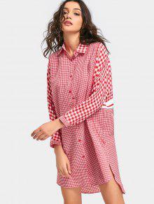 Tartan Langarmhemd Kleid - Rot Xl