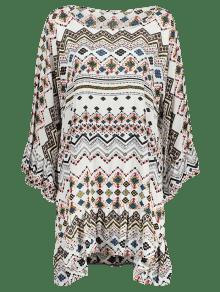 Albaricoque Ribete De De Vestido Larga Estampado Con 2xl Volantes Manga Tw8UngxqnI