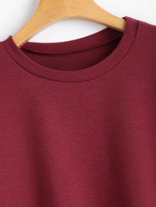 Tied Bow L Rojo Slit Loose Sweatshirt Vino 7xRqBw