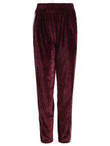 Pantalones De Terciopelo De Cintura Elástica A Rayas - Burdeos M