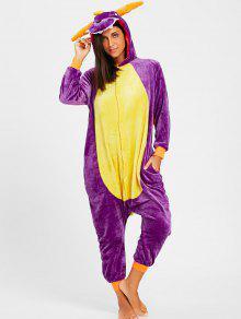 Pijama De Lana De Animal Dorado De Fleece - Púrpura M