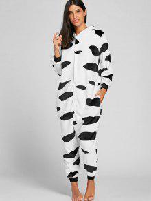 حليب البقر الدافئة الحيوان نيسيي بيجامة - أسود أبيض Xl