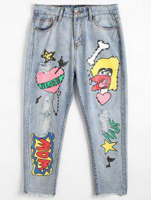 جينز ممزق مرسوم - ازرق M