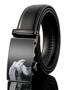 3D النسر مزين بو الجلود التلقائي مشبك حزام واسع - أسود 130cm