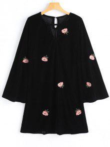 Vestido De Manga Larga Bordado Floral Terciopelo - Negro M