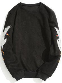 Sweat-shirt En Suède à Grue Brodée - Noir Xl