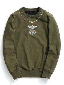 Sudadera Bordada De Cuello Redondo - Verde Del Ejército M