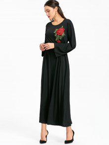 فستان ماكسي مربوط طويلة الأكمام مرقع بالأزهار - أسود S