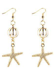 Pendientes De Gota Decorados Estrella De Mar De Oro Vintage - Dorado
