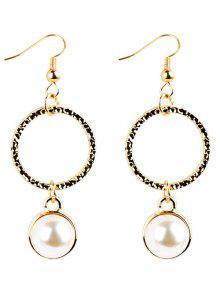 Faux Perle Décorée En Métal Forme Ronde Boucles D'oreilles - Or