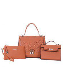 المسامير 3 قطعة حقيبة يد مع حزام - لؤلؤة برتقال ذهبي