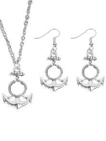 Circle Anchor Halskette Mit Ohrring Set - Silber