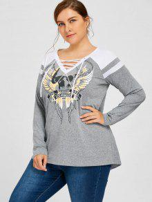 7ed428992f9 2018 Plus Size Skull Lace Up V Neck Top In GRAY 4XL