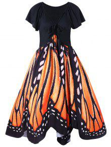 Vestido De Oscilación De La Impresión De La Mariposa Más El Tamaño - Naranja 5xl