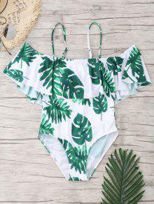 النخيل ورقة الكشكشة قطعة واحدة ملابس السباحة - الأبيض والأخضر Xl