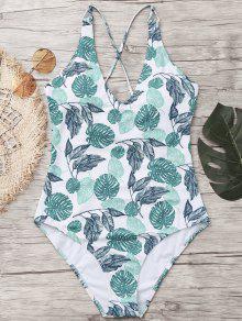 ورقة طباعة عبر الظهر قطعة واحدة ملابس السباحة - أبيض Xl