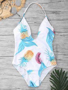قطع الأناناس طباعة قطعة واحدة ملابس السباحة - أبيض Xl