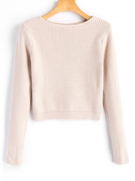 chic Long Sleeve Fitting Pullover Sweater - LIGHT APRICOT ONE SIZE