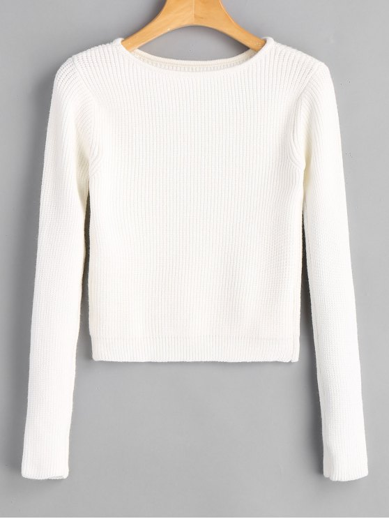 7bbe8b7bd 34% OFF  2019 Long Sleeve Fitting Pullover Sweater In WHITE