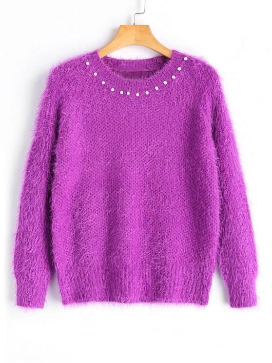 unique Textured Faux Pearls Pullover Sweater - PURPLE ONE SIZE