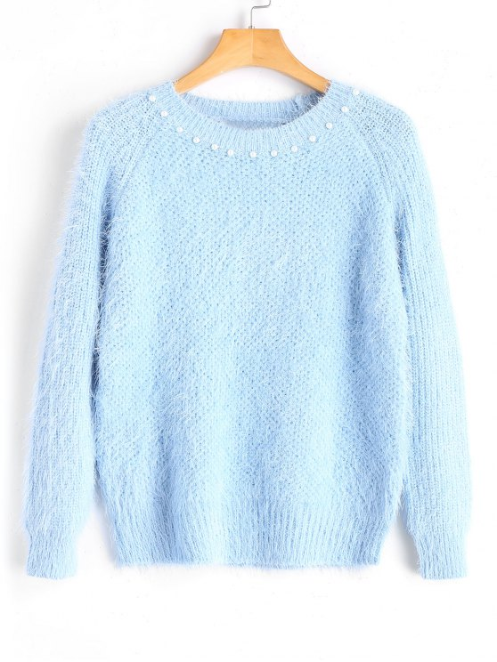 Textured Faux Pearls Pullover Sweater LIGHT BLUE: Sweaters ONE ...