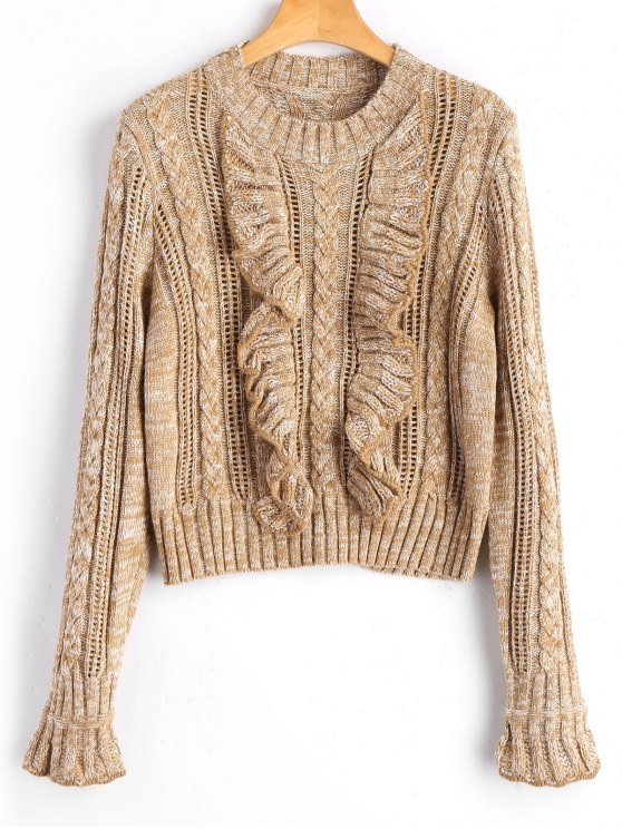 trendy Heathered Ruffles Pullover Sweater - KHAKI ONE SIZE