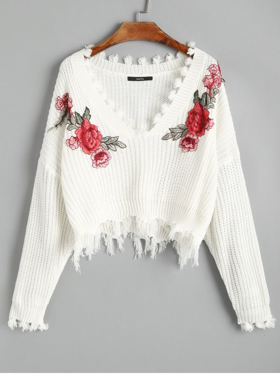 V Neck Frayed Floral Embroidered Pullover Sweater White