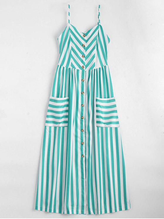 ladies Button Up Striped Cami Dress - LAKE GREEN M