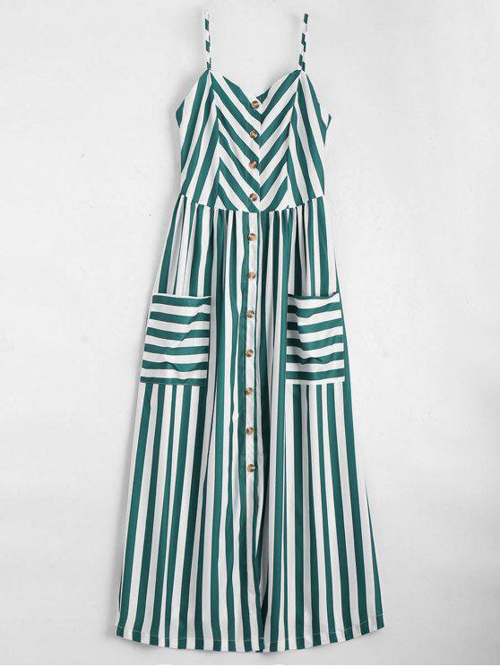 new Button Up Striped Cami Dress - BLACKISH GREEN L