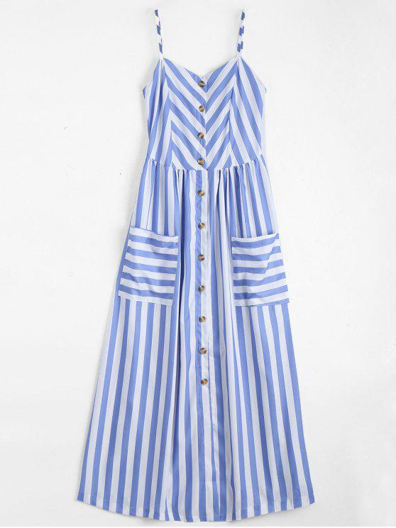 outfits Button Up Striped Cami Dress - LIGHT BLUE M