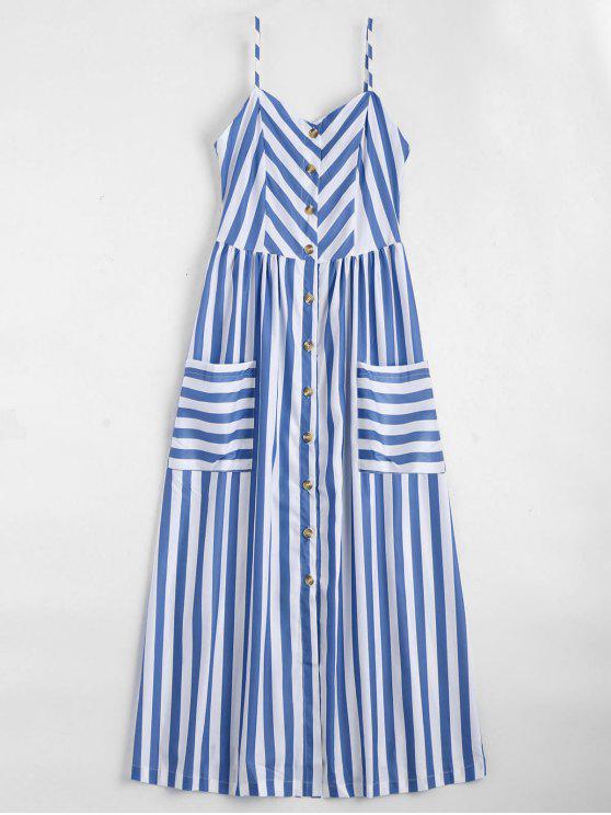 Vestido Cami Listrado com Fecho de Abotoar - Azul Violeta S