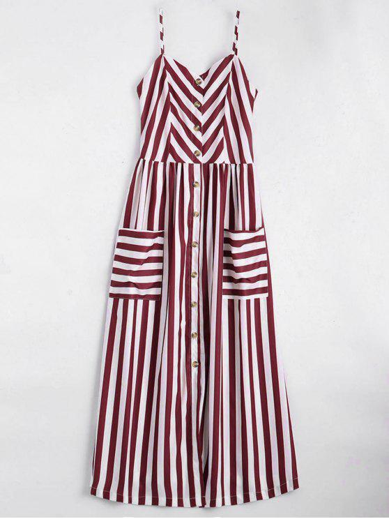 fashion Button Up Striped Cami Dress - DEEP RED M