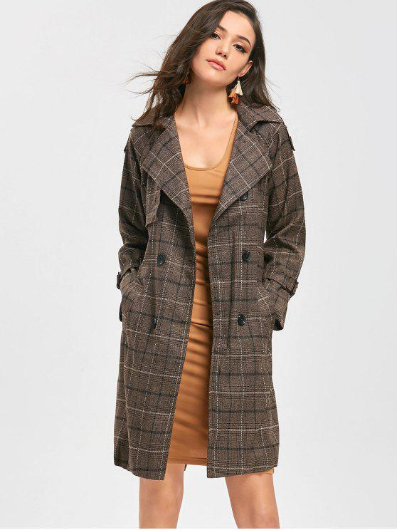 outfit Double Breasted Belted Checked Coat - COFFEE S