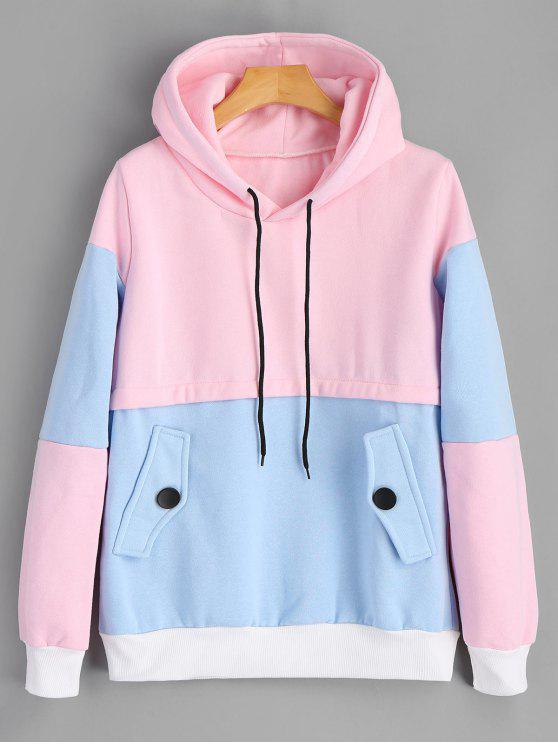 fashion Ribbed Trim Color Block Hoodie - PINKISH BLUE M