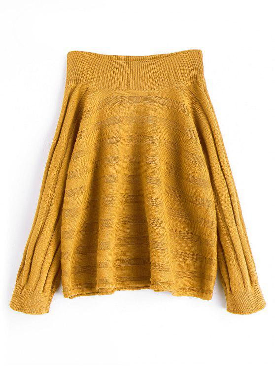 8fb23d422c9d 30% OFF  2019 Oversized Off Shoulder Pullover Sweater In MUSTARD