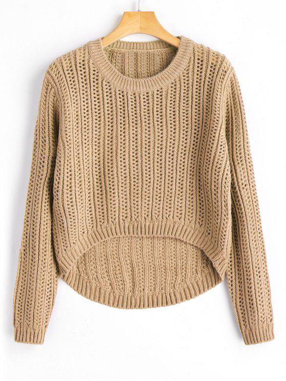 Sheer High Low Pullover Sweater KHAKI: Sweaters ONE SIZE | ZAFUL