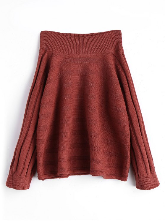 outfit Oversized Off Shoulder Pullover Sweater - BRICK-RED ONE SIZE