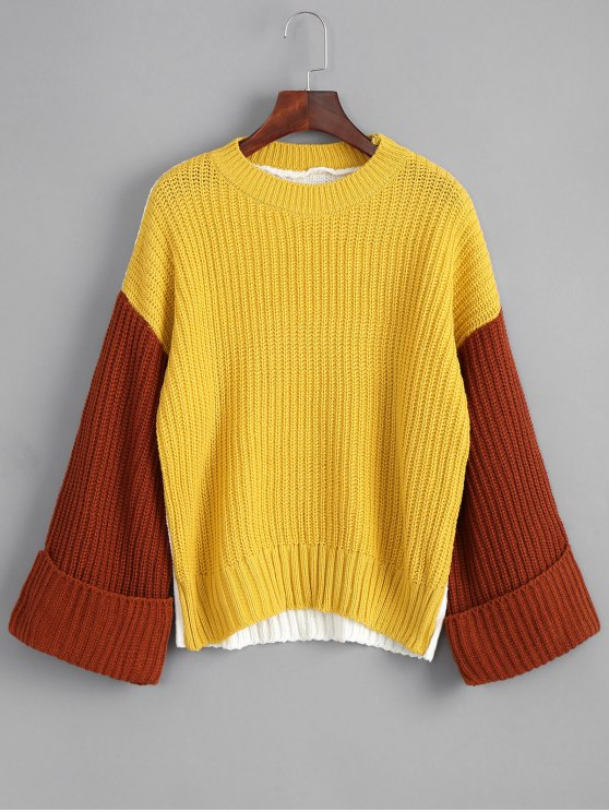 fashion Pullover Color Block Oversized Sweater - YELLOW ONE SIZE