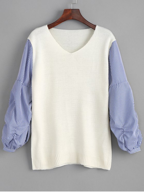 fancy V Neck Striped Sleeve Pullover Sweater - WHITE ONE SIZE
