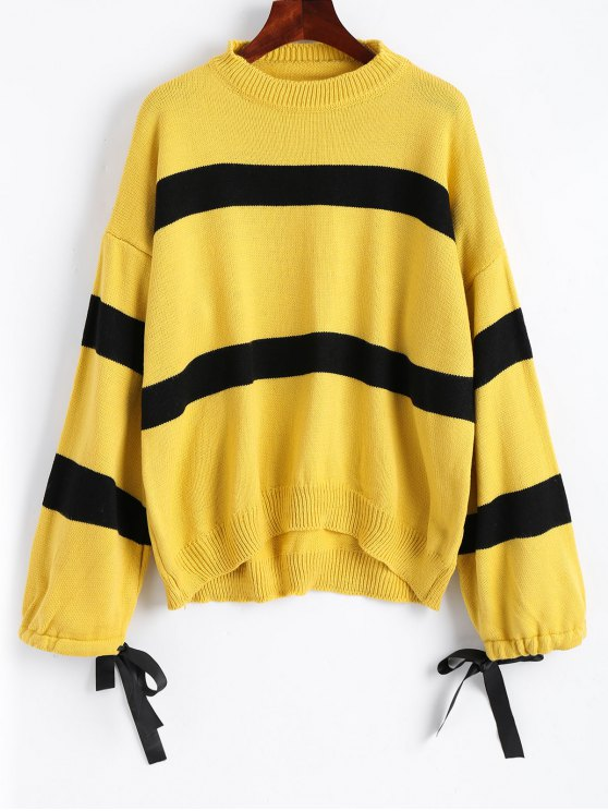 women Bow Tied Oversized Stripes Pullover Sweater - YELLOW ONE SIZE