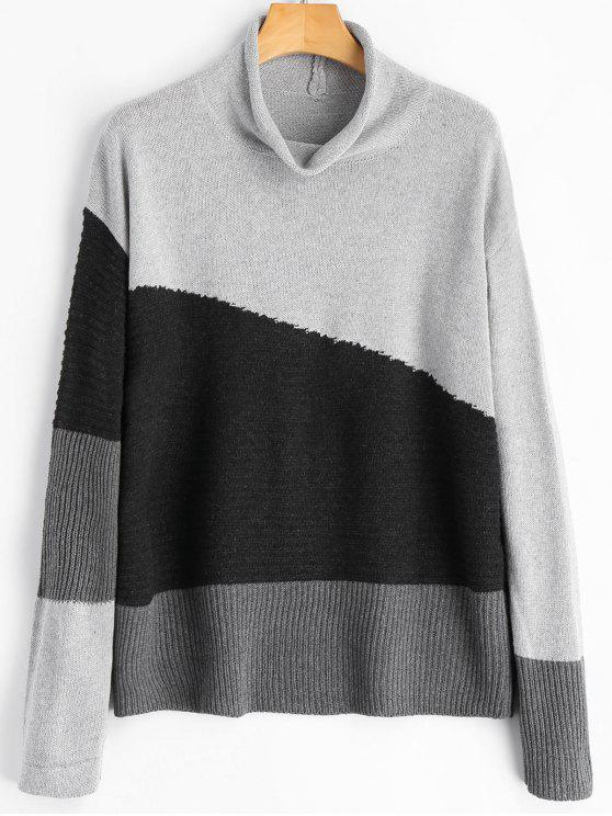 best Color Block Cowl Neck Sweater - GRAY ONE SIZE