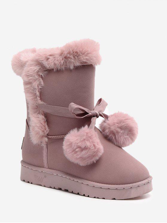 Bowknot Pompom Snow Boots - Rosado 37