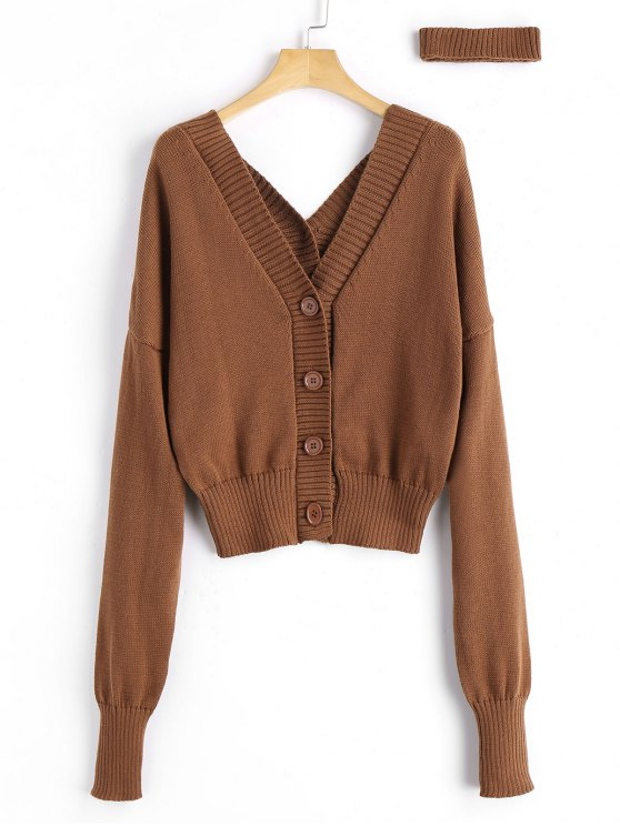 V Neck Button Up Choker Cardigan LIGHT BROWN: Sweaters ONE SIZE ...